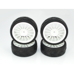 Ride 1/10 FWD Tires 24mm Pre-glued with 16 Spoke Wheel White