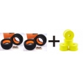 GRP GG07X (4) TIRES FOAM SOFT + TEAM LOSI TRUGGY WHEELS, ZERO OFFSET (YELLOW) (4) (8T 2.0)